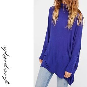 FREE PEOPLE We The Free Terry Tunic Ocean Blue Top